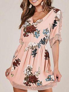 5d2262cb8020 Pink V-neck Floral Print Lace Panel Cut Out Detail Mini Dress