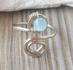 Aquamarine Wrapped Hammered Silver Wire Spiral Toe Ring  | pavlos - Jewelry on ArtFire