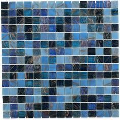 Splashback Tile Bahama Blue 13 in. x 13 in. x 4 mm Glass Mosaic Floor and Wall Tile, Blues