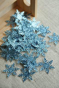 FREE SHIPPING - Frozen Birthday Party Decoration Confetti 50CT - Light Blue Glitter Snowflake Confetti on Etsy, $6.99