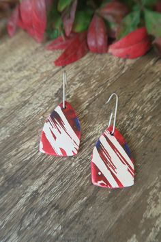Wax Art, Ceramic Art, Jewelry Art, Red And Blue, Ceramics, Drop Earrings, Christmas Ornaments, Sterling Silver, Holiday Decor