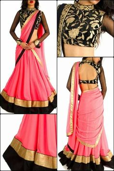 Georgette Lace Work Pink Plain Semi Stitched Bollywood Lehenga Style Saree…