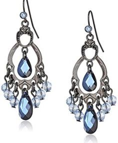 1928 Jewelry Classic Blue Chandelier Earrings: A combination of light and dark blue beads hang from a decorative jet-toned metal frame. Small blue crystals dot at the post for a subtle touch of sparkle. Jewelry For Her, Body Jewelry, Fine Jewelry, Women Jewelry, Fashion Jewelry, Jewelry Shop, Jewelry Ideas, Jewellery, Blue Chandelier