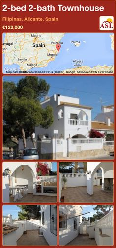 Townhouse for Sale in Filipinas, Alicante, Spain with 2 bedrooms, 2 bathrooms - A Spanish Life Murcia, Double Bedroom, Master Bedroom, Valencia, Alicante Spain, Log Burner, Patio Doors, Townhouse, Terrace