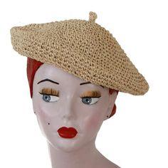Bast-Barett natur Fascinator, Headpiece, Vintage Stil, Crochet Hats, Beige, Beret, Fascinators, Seasons Of The Year, Nature