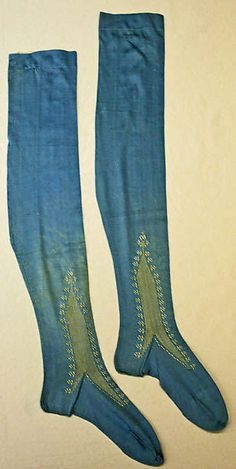 Stockings  Date: 1865  Culture: French  Medium: silk  Dimensions: Heel to Toe: 8 3/4 in. (22.2 cm)  Credit Line: Gift of Mrs. Mildred C. Gray, 1954  Accession Number: C.I.54.41.2a, b  Metropolitan Museum of Art  Full item description and additional photos here.