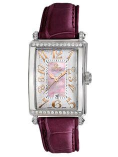Gevril Women's Pink Mother-of-Pearl Genuine Alligator Strap Watch