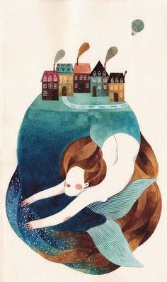Gemma Capdevila, mermaid, sea, island, village, pueblo, houses, casas, illustration.