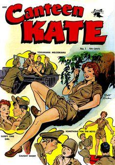 Cover art for Canteen Kate June 1952 by Matt Baker. Comic Book Artists, Comic Book Characters, Comic Artist, Comic Books Art, Vintage Comic Books, Vintage Comics, Funny Vintage, Vintage Stuff, Vintage Ads