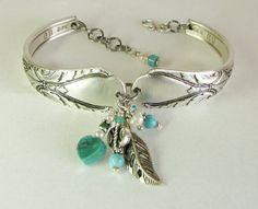 Silver Spoon Bracelet Avalon 1940 Turquoise by SpoonfestJewelry, $35.00
