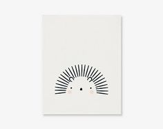 Hedgehog Nursery Print | Black and White Kids Room Poster