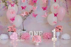 Butterfly 1st Birthday, 2 Birthday, Birthday Girl Pictures, 1st Birthday Photoshoot, 1st Birthday Party For Girls, Butterfly Birthday Party, 1st Birthday Cake Smash, Girl Birthday Decorations, Girl Birthday Themes