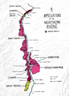 Appellations and wines of the Northern Rhone Map - http://winefolly.com/review/northern-rhone-wine-french-syrah/ #winemap #WineFolly
