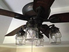 "Vintage Mason Jar CEILING FAN Light KIT only by LampGoods on Etsy- $200.00 * 6 1/2"" drop x 16"" wide"