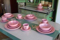 Vintage Fiestaware ~ Retired Color ~ Mixed Set ~ Rose / Pink / Flamingo