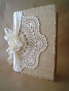 Rustic Burlap Lace Doily Journal Diary Notebook Guestbook on Etsy, $22.00