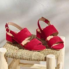 Sandále na podpätku, kožená useň, červené   blancheporte.sk #blancheporte #blancheporteSK #blancheporte_sk  #shoes #topanky #kozenaobuv #koze Birkenstock Milano, Espadrilles, Platform, Shoes, Products, Style, Fashion, Kitten Heels, Heeled Sandals