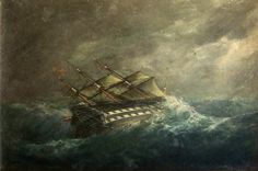 HMS Agamemnon Painting by Henry Clifford Image courtesy of Jacy Wall  History of the Atlantic Cable & Submarine Telegraphy - Henry Clifford