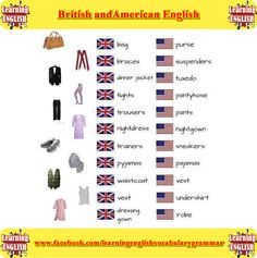 Learn the differences between British and American English using pictures