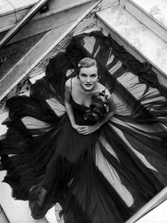 Model Wearing Rose Decked Gorgeous Gown by Traina Norell