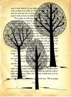 Love the trees drawn on printed background I love this novel idea! Sue x