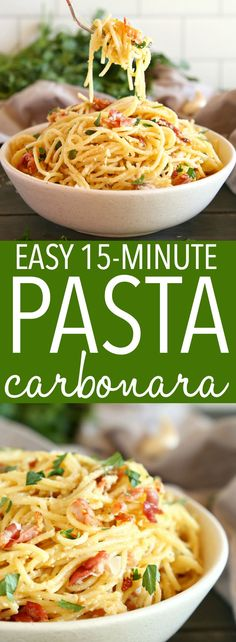 This Easy Pasta Carbonara is a simple weeknight meal made in minutes w. - Recipes easy - This Easy Pasta Carbonara is a simple weeknight meal made in minutes with basic ingredient - Yummy Recipes, Easy Pasta Recipes, Healthy Recipes, Cooking Recipes, Easy Pasta Dinners, Easy Pasta Dinner Recipes, Bacon Dinner Recipes, Recipes With Bacon, Basic Pasta Recipe