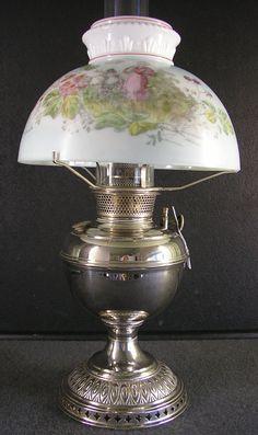 Old Kerosene Lanterns For Sale | Plume & Atwood Nickel Table Oil Lamp Kerosene Lamp with c. 1895 hand ...