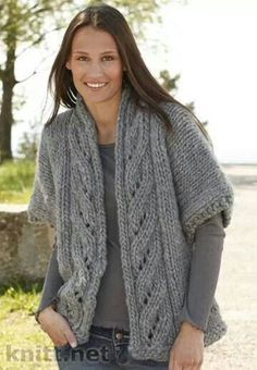 "Knitted DROPS wide jacket with lace pattern and shawl collar in ""Polaris"". Knitting Patterns Free, Knit Patterns, Free Knitting, Clothing Patterns, Free Pattern, Knitted Blankets, Knitted Hats, Knit Vest Pattern, Knit Shrug"