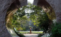 "Nathan_Arrington posted a photo:  INSTAGRAM TUMBLR TWITTER  ----------  The Moongate Garden  architect: Jean Paul Carlhian  Inspired by the gardens and architecture of the Temple of Heaven in Beijing, China, the Moongate Garden was designed using a geometrical, axial layout, centered around the cardinal points of the compass. The entrances leading into the garden enter through the southwest corner and exit through the northeast, creating what the architect called the ""pinwheel treatment,""…"