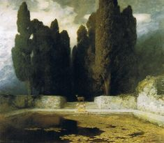 'The Pool' (1911) by German painter Ferdinand Keller (1842-1922). Oil on canvas