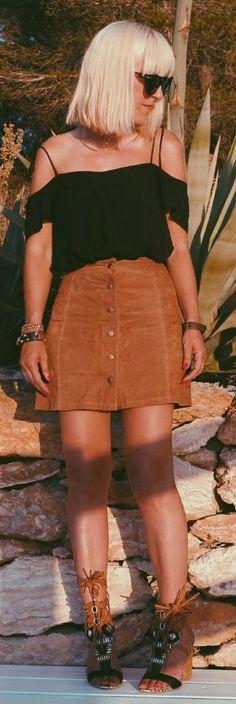Camel Suede Button Skirt