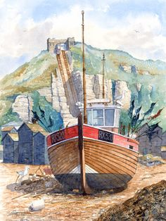 A fishing boat - Old Town Hastings Hastings England, Hastings East Sussex, Hastings Seafront, Plan A Day Out, Steamboats, Sense Of Place, Watercolor Sketch, Watercolours, Fishing Boats