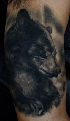 The American black bear is a medium-sized bear native to North America. The American black bear is the world's most common bear species. Below, we are going to mention black bear tattoo ideas and designs. Rose Tattoo Black, Black Bear Tattoo, Black Tattoos, Wicked Tattoos, Dad Tattoos, Tatoos, Design Tattoo, Tattoo Designs Men, Grizzly Bear Tattoos