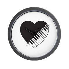 Piano Heart Wall Clock