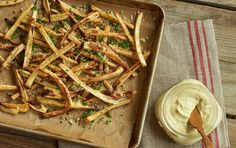 Recipe: Baked Parsnip Fries with Curry-Lime Yogurt Dip