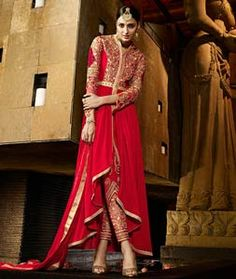 Buy Red Georgette Designer Kameez With Pant 73778 online at lowest price from…