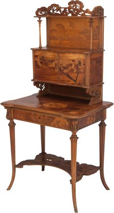 ** Emile Gallé (1846-1904), Nancy, Mahogany with Fruit Wood Inlays.