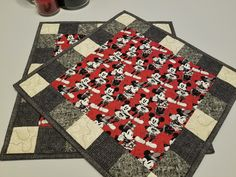 Quilted Mickey Mouse and Minnie Mouse Placemats in Red and Gray for Valentine's, Anniversary, Romantic Dinner,Bridal Shower or Wedding Gift Mickey Mouse, Halloween Table Runners, Place Mats Quilted, Red And Black Plaid, Romantic Dinners, Mug Rugs, Red Background, Diy Table, Wedding Gifts