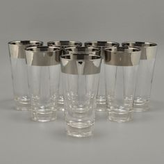 Dorothy Thorpe Set of 8 Highball Tumblers Silver Rim Vtg