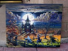 Halloween Art Paintings | Because We Believe-Art: ORIGINAL Halloween Painting from Byrum Art
