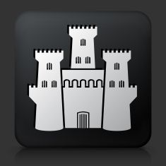 Black Square Button with Castle Icon vector art illustration
