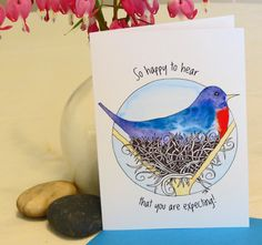 Blank Note Card - 'Mother Bird' - Congratulations Expecting - Baby Shower Card - Pregnancy Card - Nest - Blue Red Bird - Baby - Congrats by CreateThriveGrow on Etsy