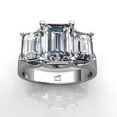"Three Stone ""X"" Emerald Cut Diamond Ring in 14KT White Gold"