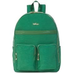 Kipling Tina Laptop Backpack ($119) ❤ liked on Polyvore featuring bags, backpacks, emerald dream patent combo, backpack laptop bags, day pack backpack, patent leather backpack, kipling backpack and patent bag