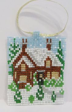 handmade beaded house ornament