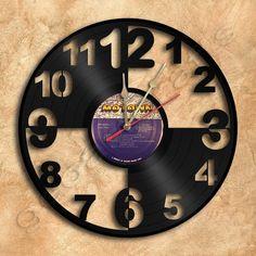 Unique Big Numbers Wall Clock Vinyl Record Clock by geoartcrafts