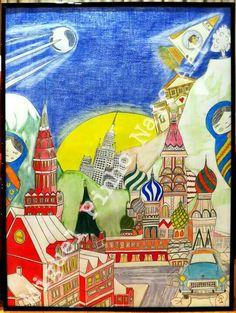 Moscovo revisitada. Pintura a lapis no papel com 80 X 60.