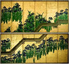 Yatsuhashi-zu Byōbu by Kōrin Ogata. a pair of Japanese screens: Ogata Kōrin | Irises at Yatsuhashi (Eight Bridges) | Japan | Edo period (1615–1868) | The Met