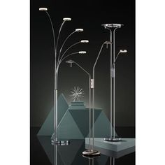 Perseus Chrome LED Torchiere Floor Lamp with Reading Light - Arc Floor Lamps, Modern Floor Lamps, Dimmable Led Lights, Incandescent Bulbs, Custom Lighting, Cool Lighting, Chrome Finish, Nickel Finish, Modern