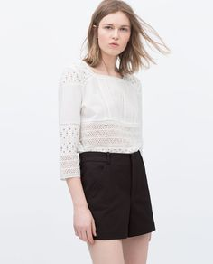 Image 1 of HIGH-WAISTED PLEAT SHORTS from Zara